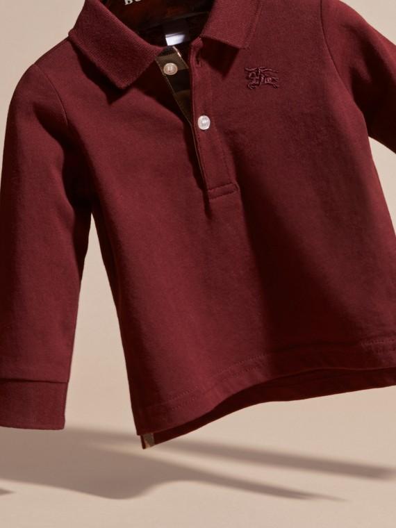 Rouge bourgogne Polo à manches longues en coton avec éléments check Rouge Bourgogne - cell image 3