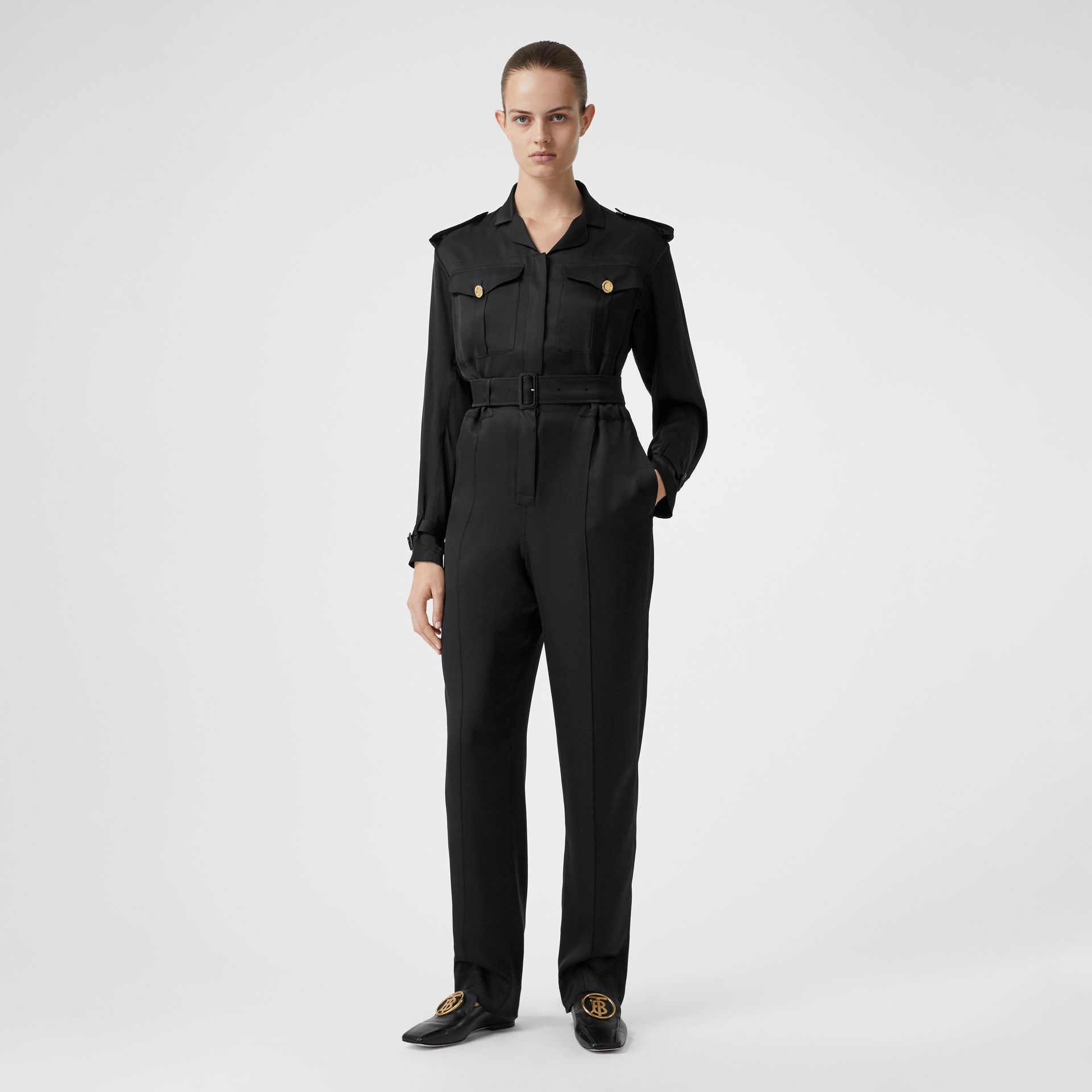 Silk Satin Jumpsuit in Black - Women | Burberry - gallery image 6