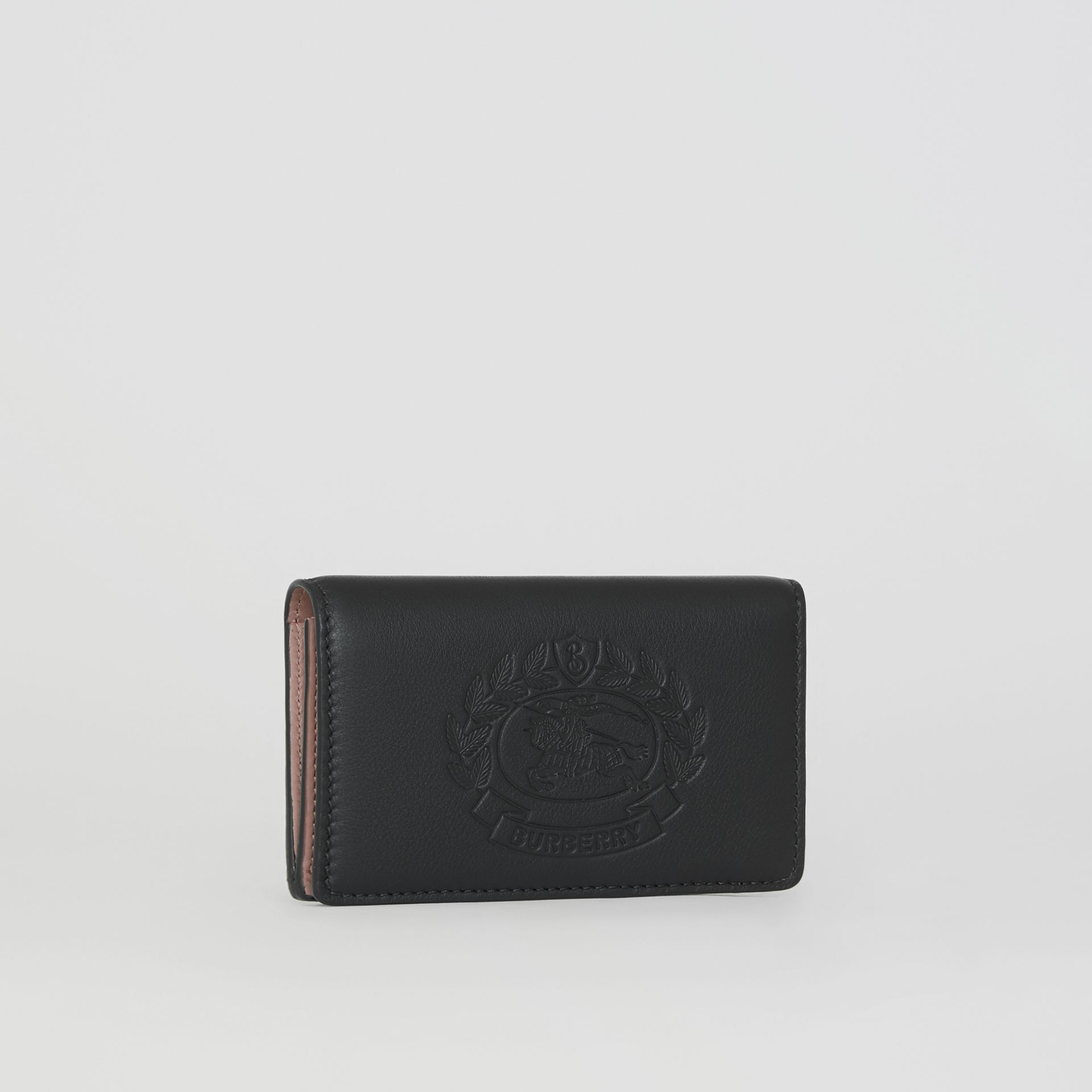 Small Embossed Crest Two-tone Leather Wallet in Black - Women | Burberry - gallery image 4