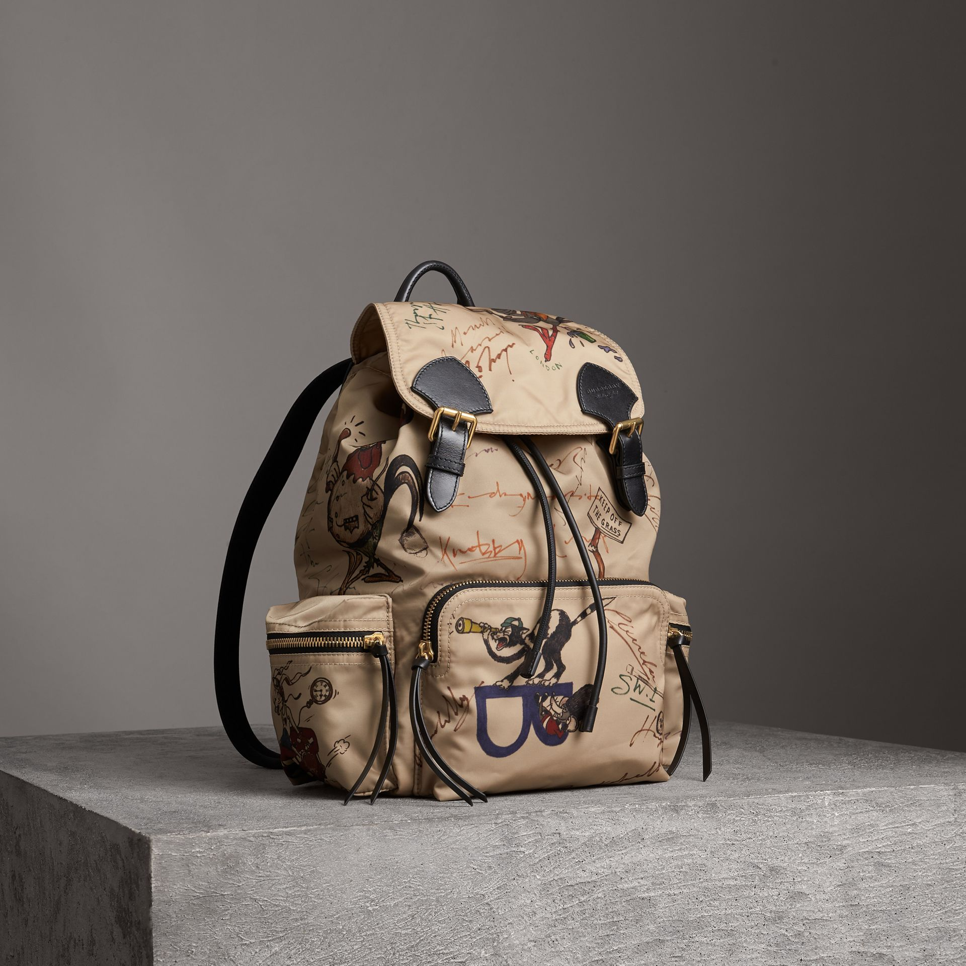 The Large Rucksack in Sketch Print Nylon in Honey | Burberry United Kingdom - gallery image 0