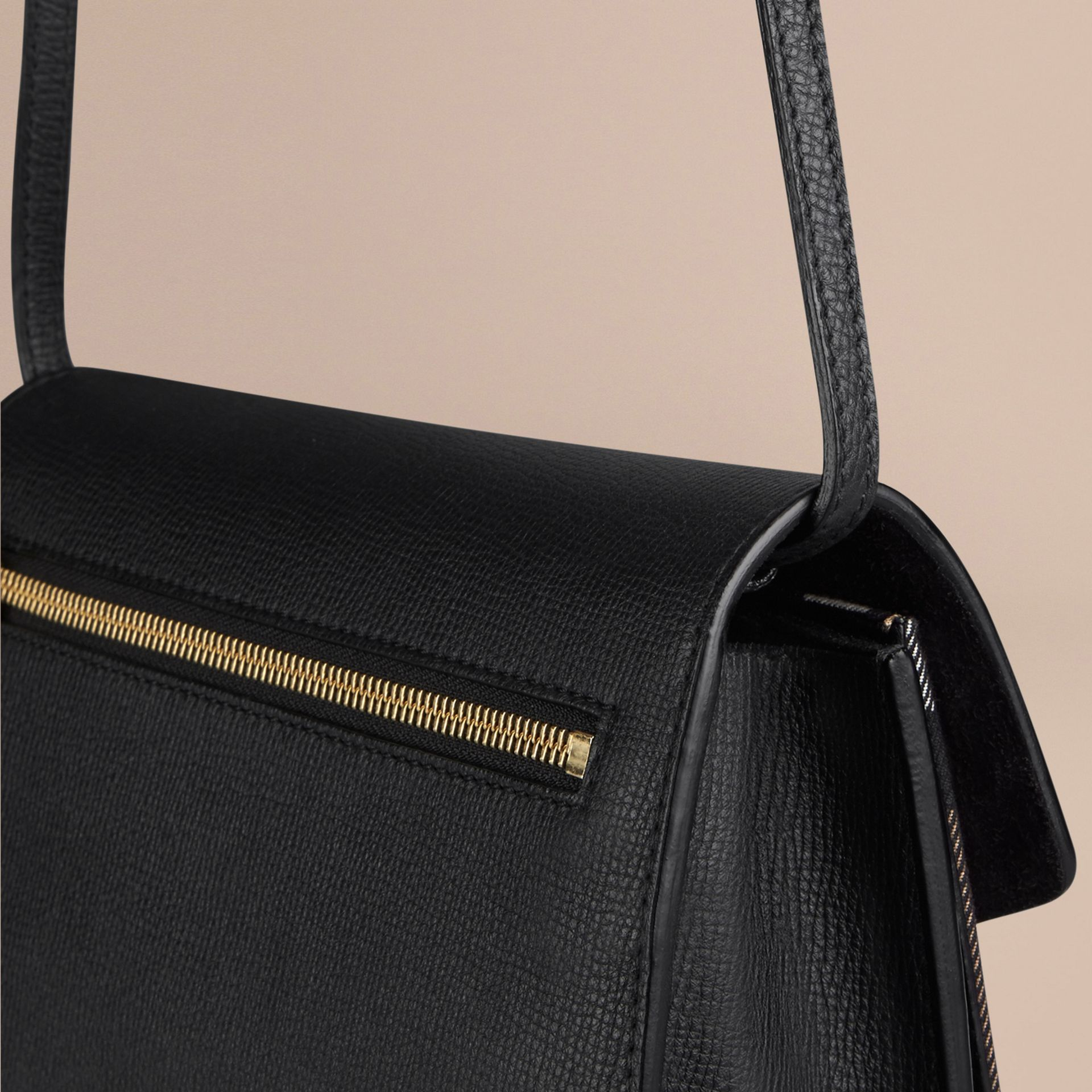 Black Small Leather and House Check Crossbody Bag Black - gallery image 5