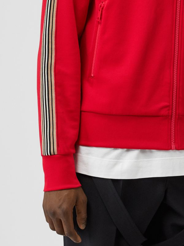 Icon Stripe Detail Funnel Neck Track Top in Bright Red - Men | Burberry - cell image 3