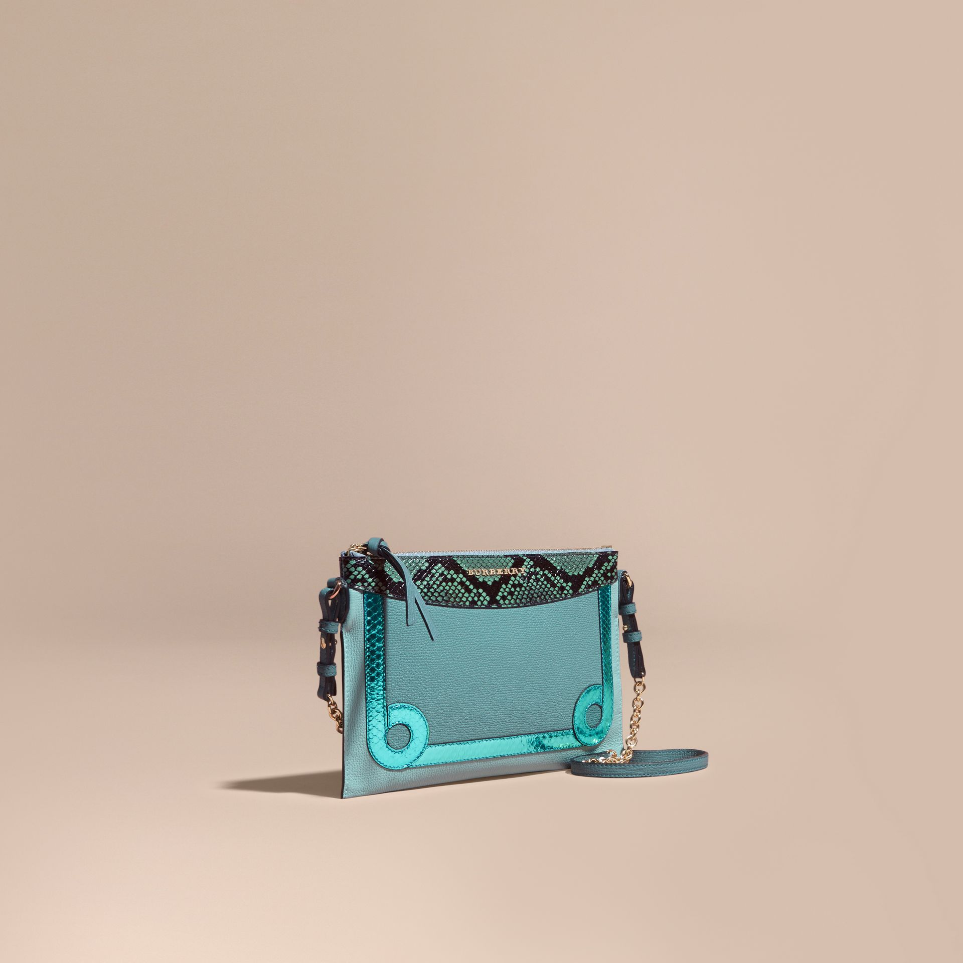 Celadon blue Leather and Snakeskin Clutch Bag Celadon Blue - gallery image 1