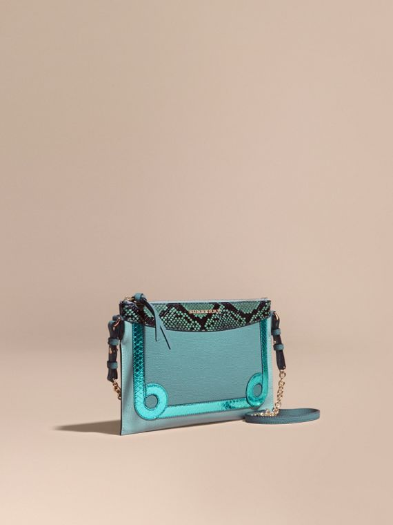 Leather and Snakeskin Clutch Bag Celadon Blue
