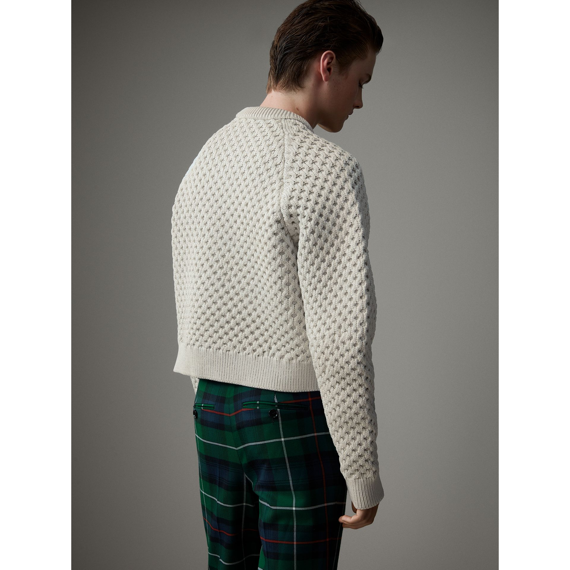 Honeycomb-stitch Cropped Sculptural Sweater in Chalk Grey - Men | Burberry United Kingdom - gallery image 2