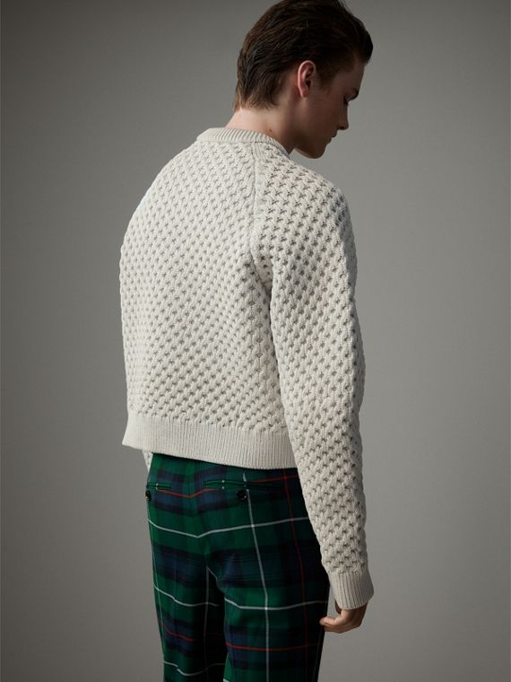 Honeycomb-stitch Cropped Sculptural Sweater in Chalk Grey - Men | Burberry - cell image 2