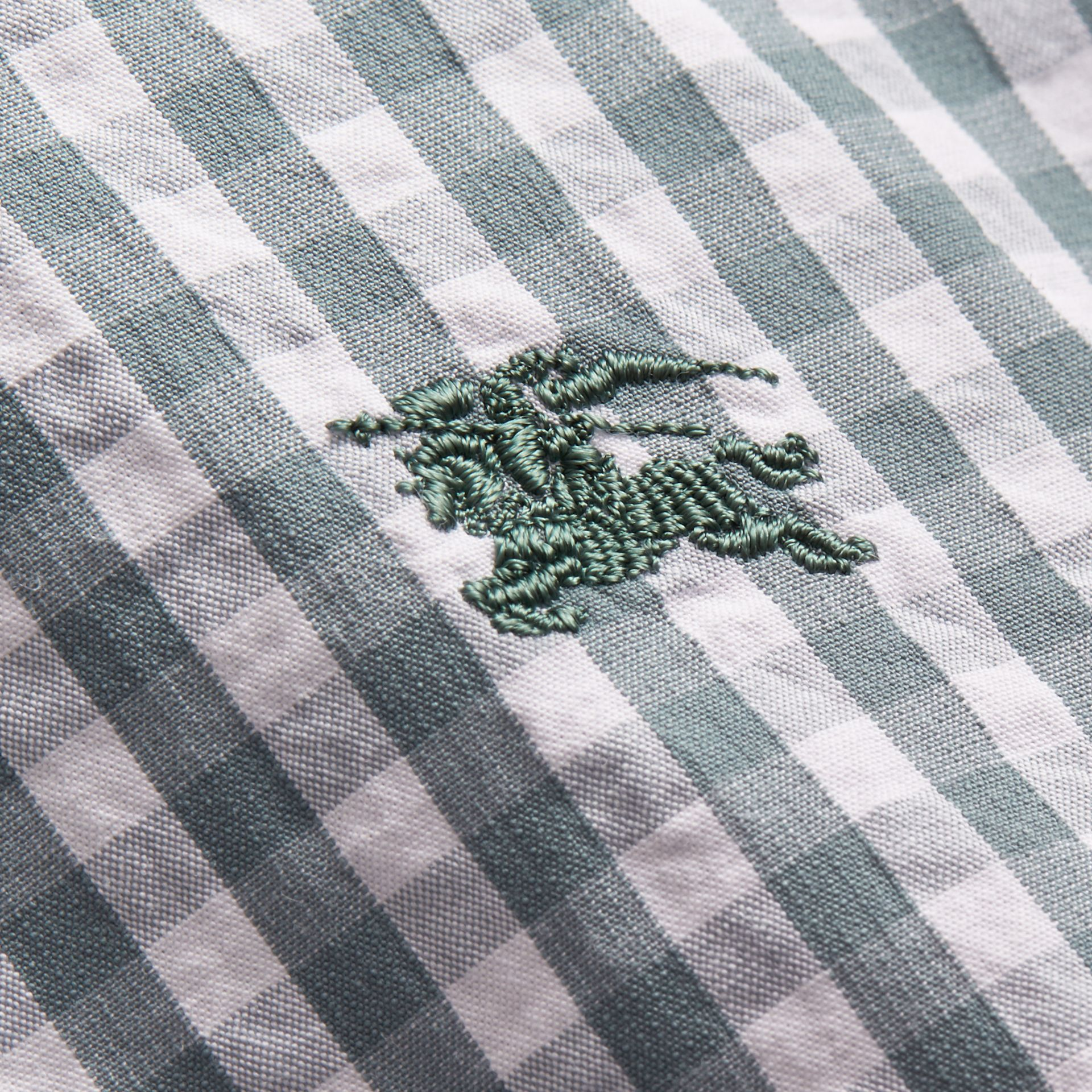 Gingham Cotton Poplin Shirt with Check Detail in Dusty Teal Blue - Men | Burberry - gallery image 2