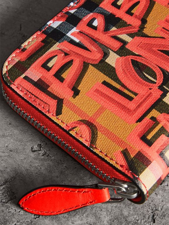 Graffiti Print Vintage Check Leather Ziparound Wallet in Red - Women | Burberry Singapore - cell image 1