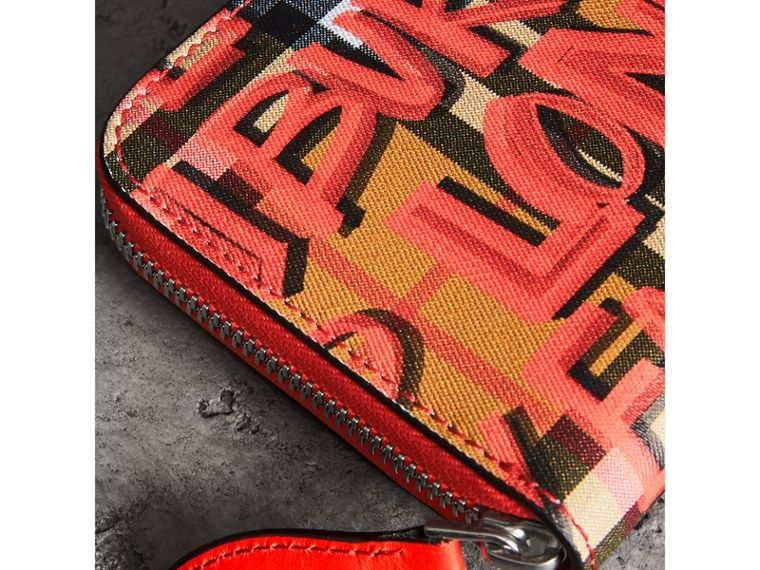 Graffiti Print Vintage Check Leather Ziparound Wallet in Red - Women | Burberry - cell image 1