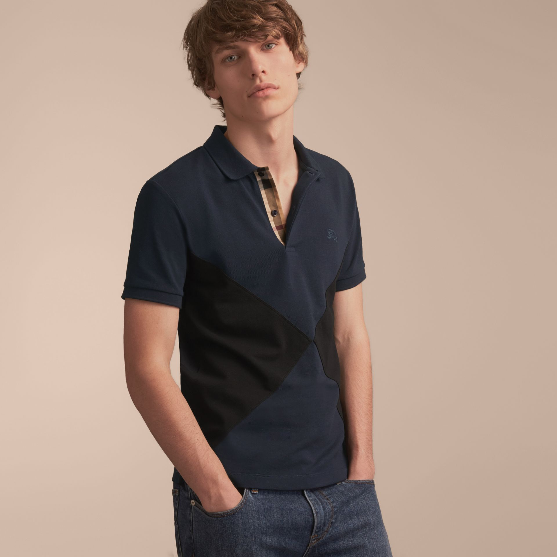 Geometric Motif Cotton Piqué Polo Shirt with Check Placket in Dark Navy - gallery image 6