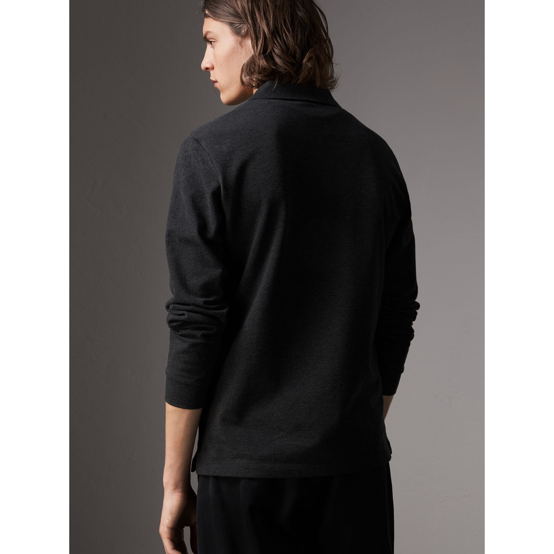 Check Placket Long Sleeve Polo Shirt in Dark Charcoal Melange - Men | Burberry Australia - gallery image 3