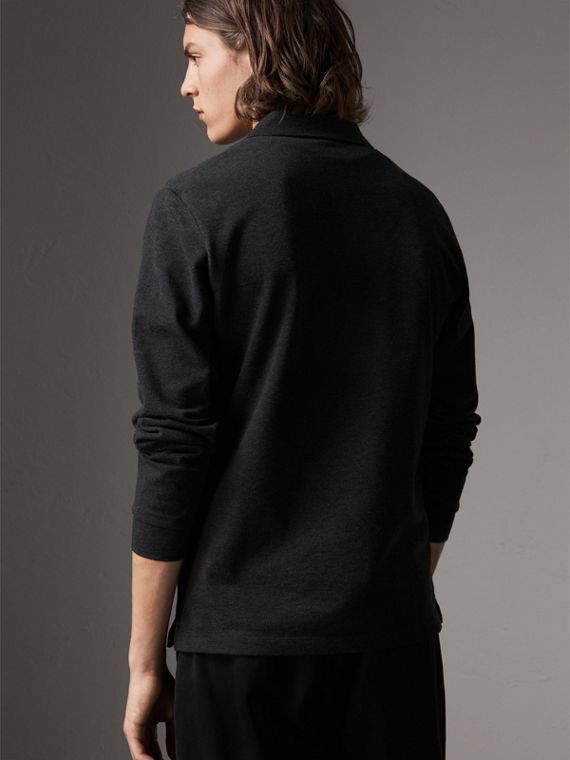 Check Placket Long Sleeve Polo Shirt in Dark Charcoal Melange - Men | Burberry - cell image 2