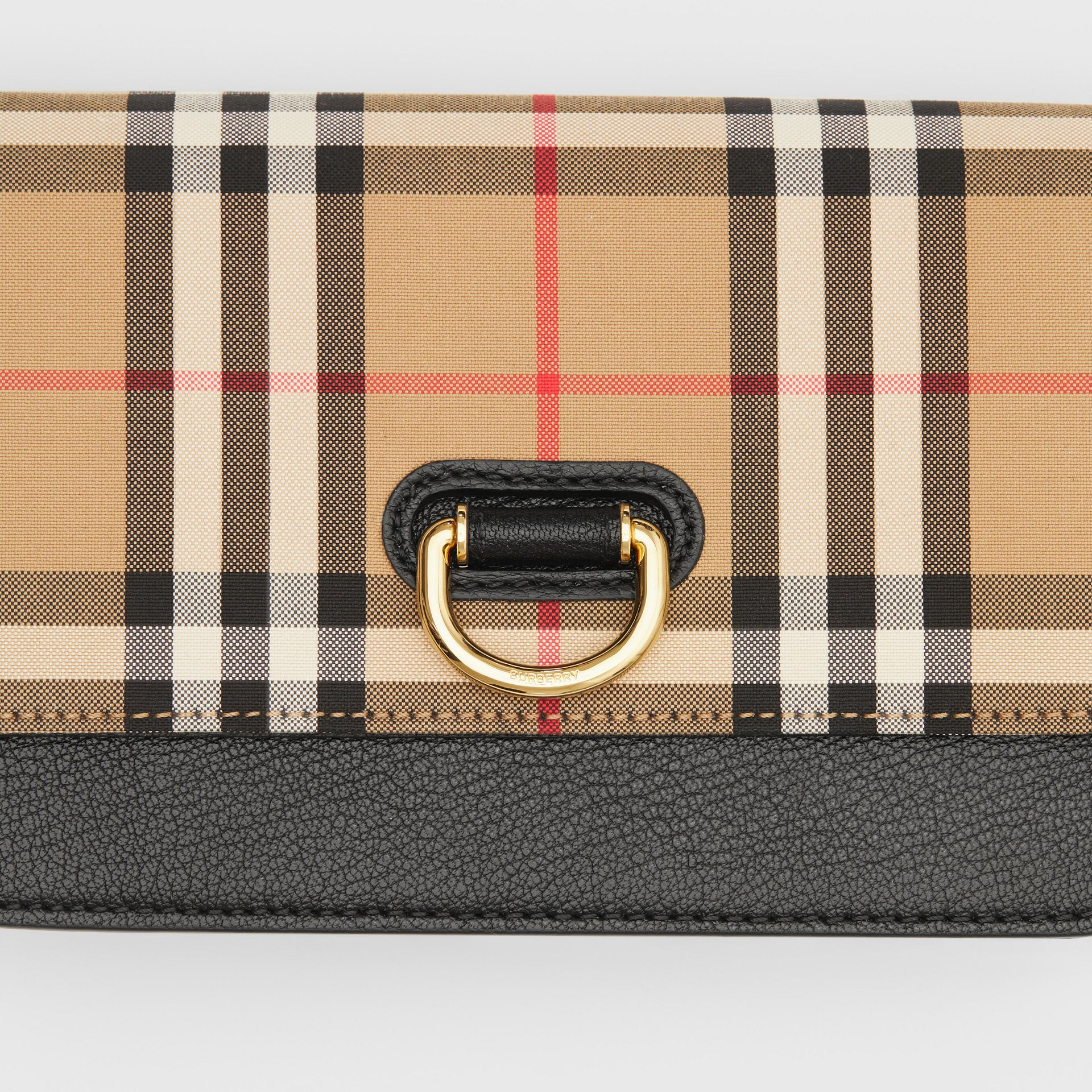The Mini Vintage Check and Leather D-ring Bag in Black - Women | Burberry United States - gallery image 1