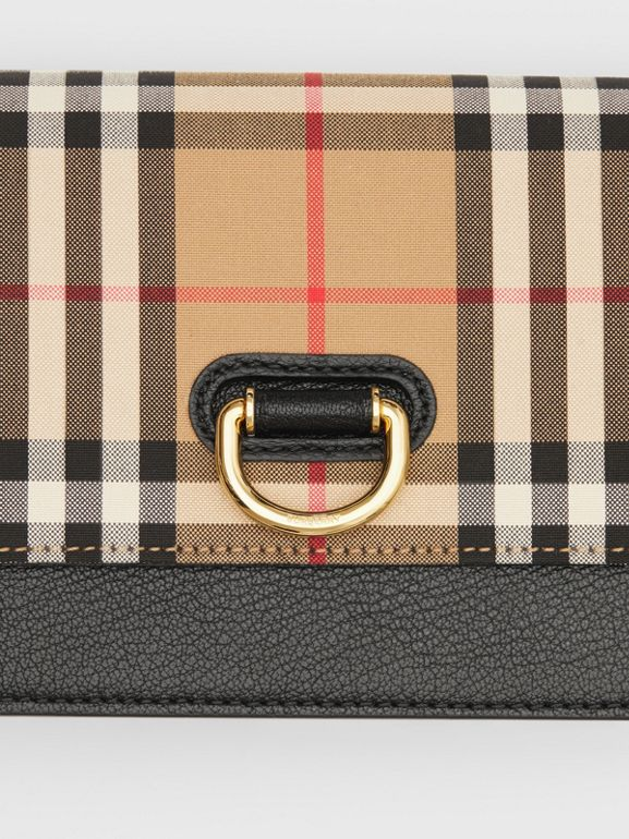 The Mini Vintage Check and Leather D-ring Bag in Black - Women | Burberry United States - cell image 1