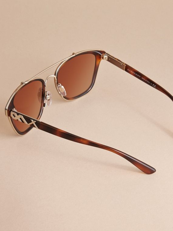 Top Bar Square Frame Sunglasses in Tortoiseshell - cell image 3