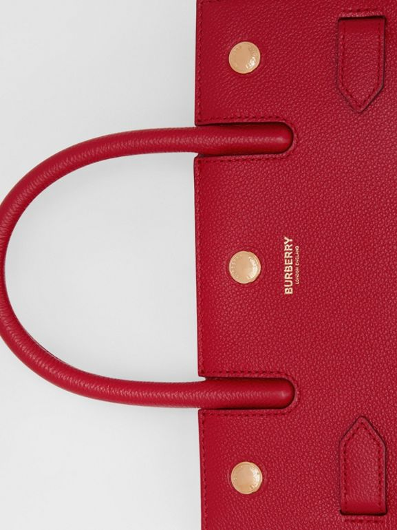 Mini Leather Two-handle Title Bag in Dark Carmine | Burberry - cell image 1