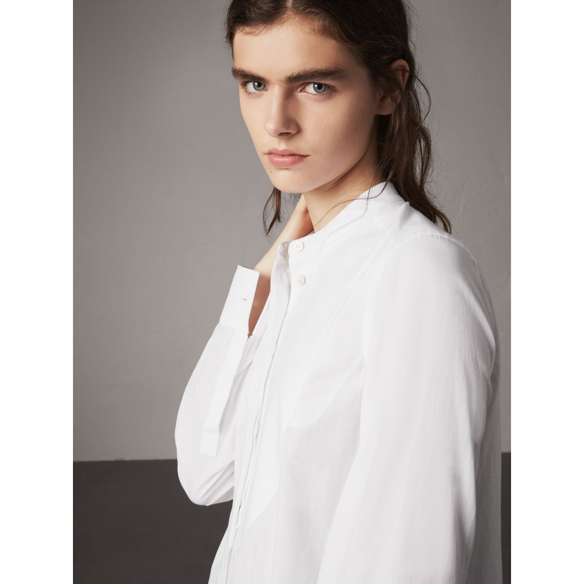 Bib Detail Cotton Longline Tunic Shirt in White - Women | Burberry United States - gallery image 1
