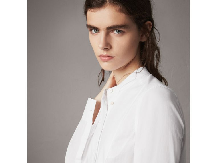 Bib Detail Cotton Longline Tunic Shirt in White - Women | Burberry Singapore - cell image 1