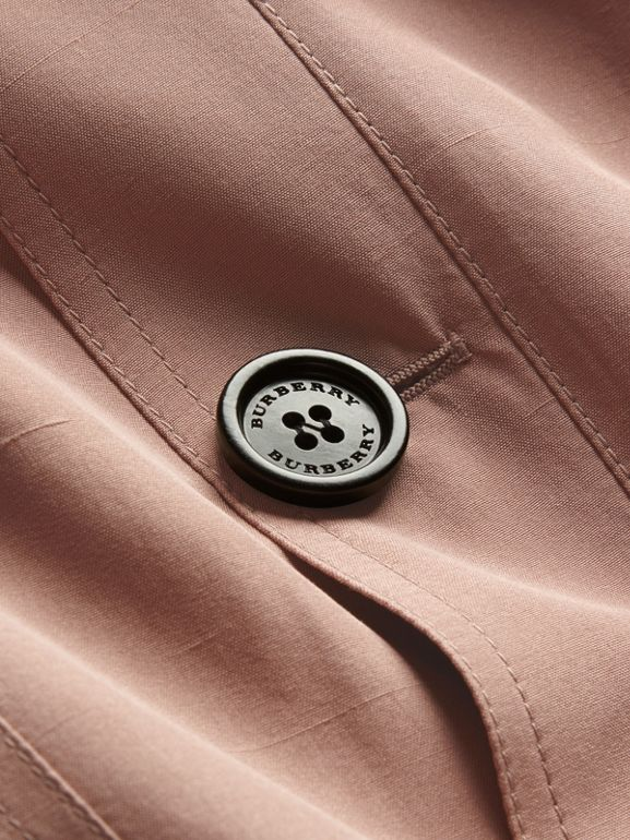 Oversize Silk Trench Coat with Puff Sleeves in Nude - Women   Burberry - cell image 1