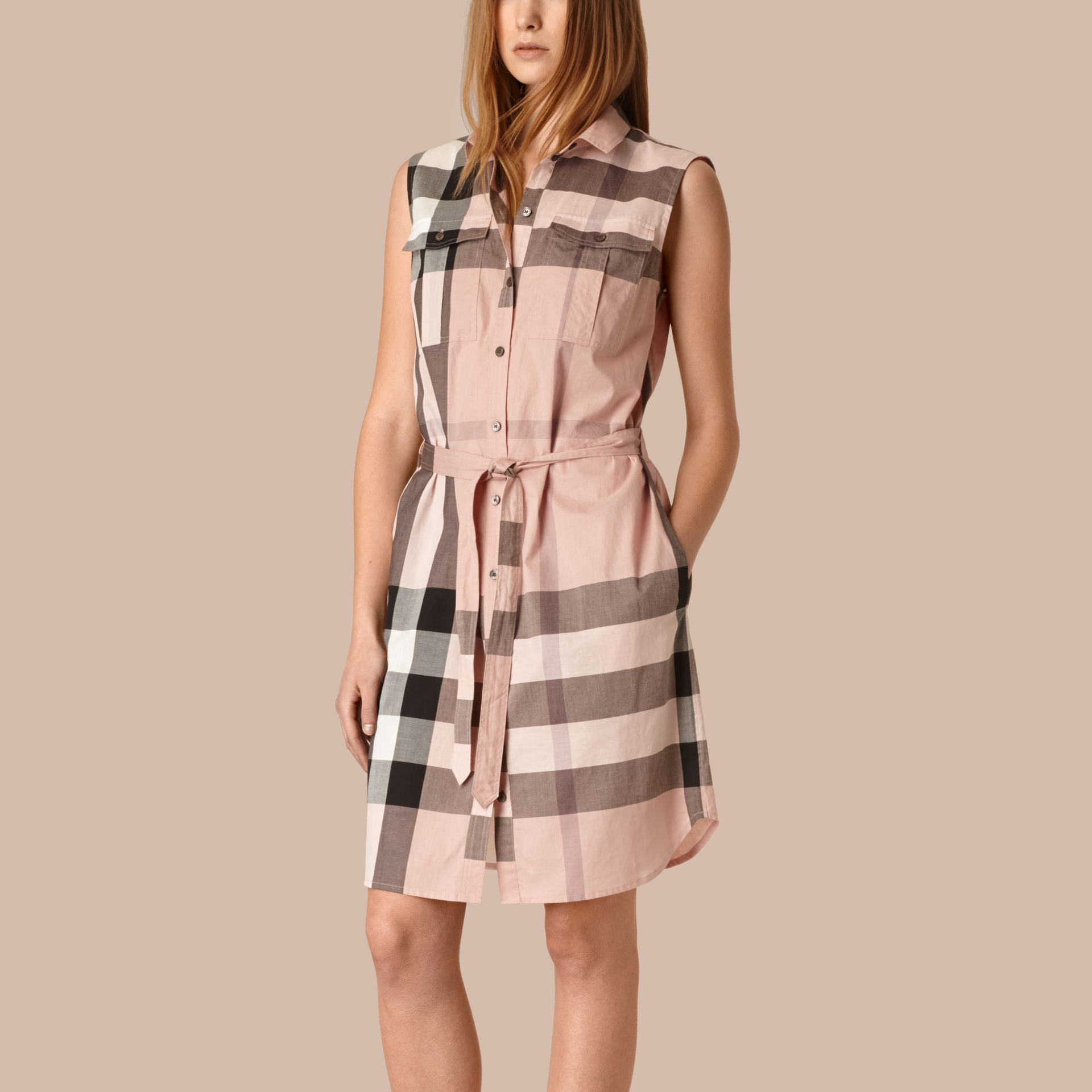 Antique pink Exploded Check Cotton Shirt Dress - gallery image 1