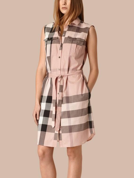 特大格紋棉質襯衫式洋裝