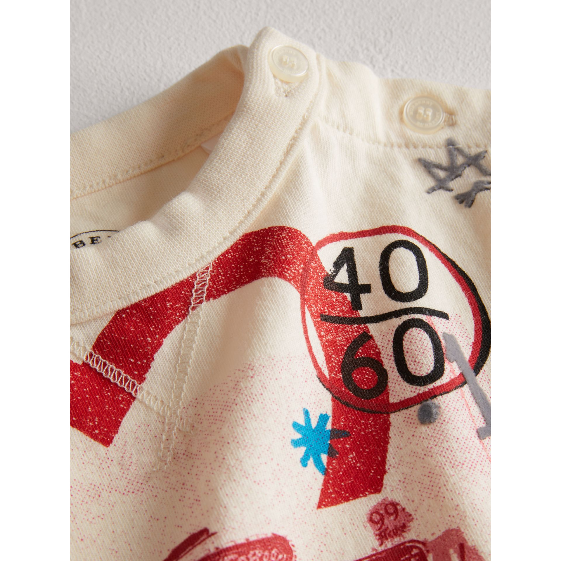 Postcard Motif Cotton T-shirt in Chalk White - Children | Burberry - gallery image 1