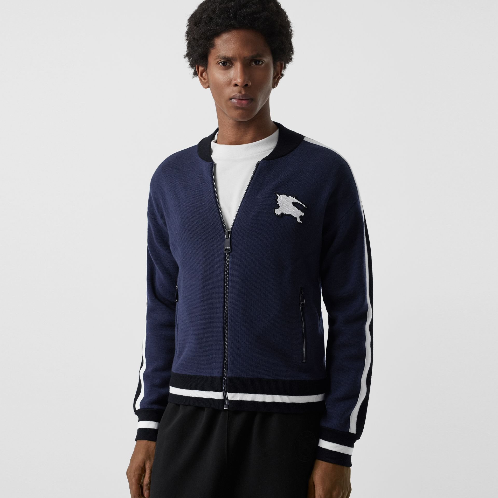 EKD Logo Merino Wool Varsity Jacket in Steel Blue - Men | Burberry - gallery image 4