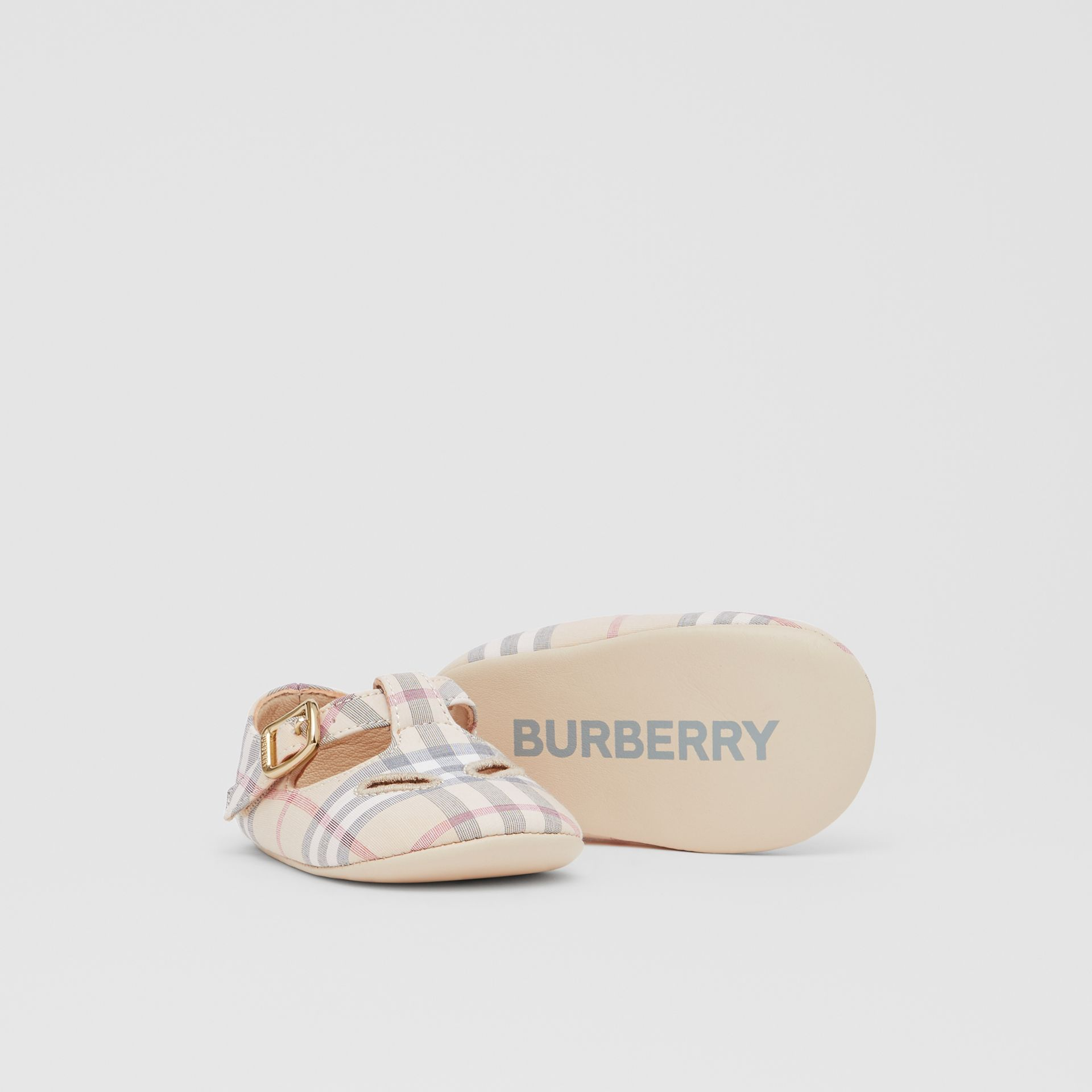 Check Cotton and Leather T-bar Shoes in Pale Stone - Children | Burberry - gallery image 4