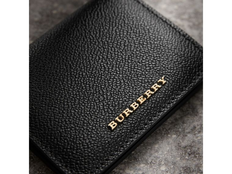 Grainy Leather ID Card Case Charm in Black - Women | Burberry Canada - cell image 1