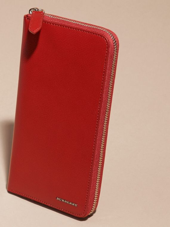 Dark military red London Leather Ziparound Wallet - cell image 2