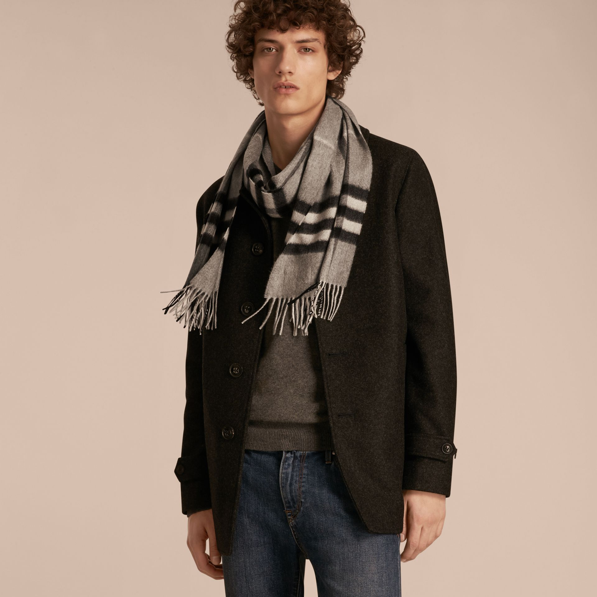 Pale grey The Classic Cashmere Scarf in Check Pale Grey - gallery image 4