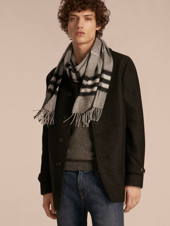 Pale grey The Classic Cashmere Scarf in Check Pale Grey - cell image 3