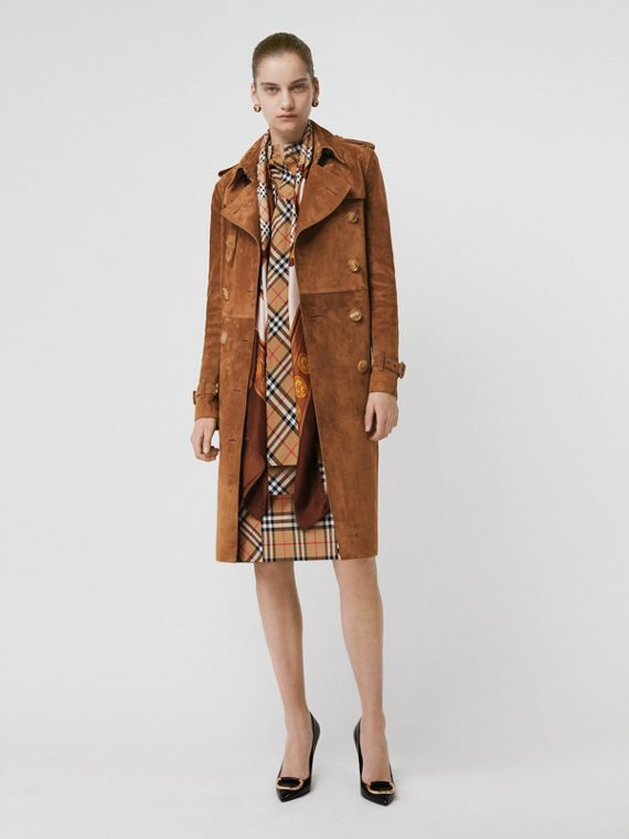 Suede Trench Coat in Sepia Brown
