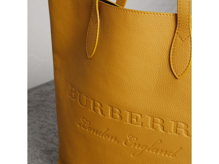 Embossed Leather Tote in Ochre Yellow | Burberry United Kingdom - cell image 1