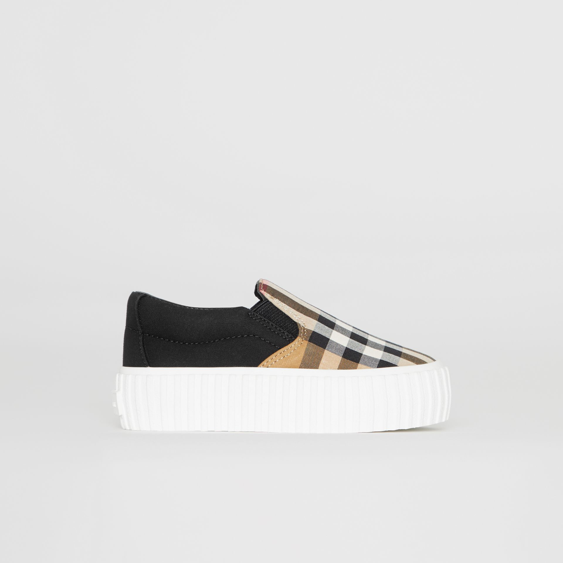 Vintage Check Detail Cotton Slip-on Sneakers in Black/antique Yellow - Children | Burberry - gallery image 3