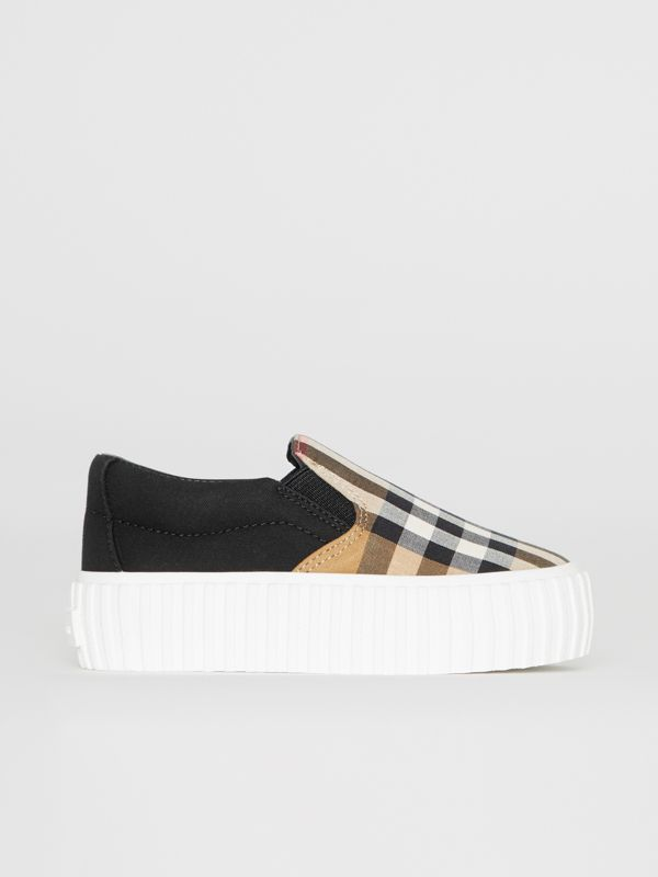 Vintage Check Detail Cotton Slip-on Sneakers in Black/antique Yellow - Children | Burberry - cell image 3