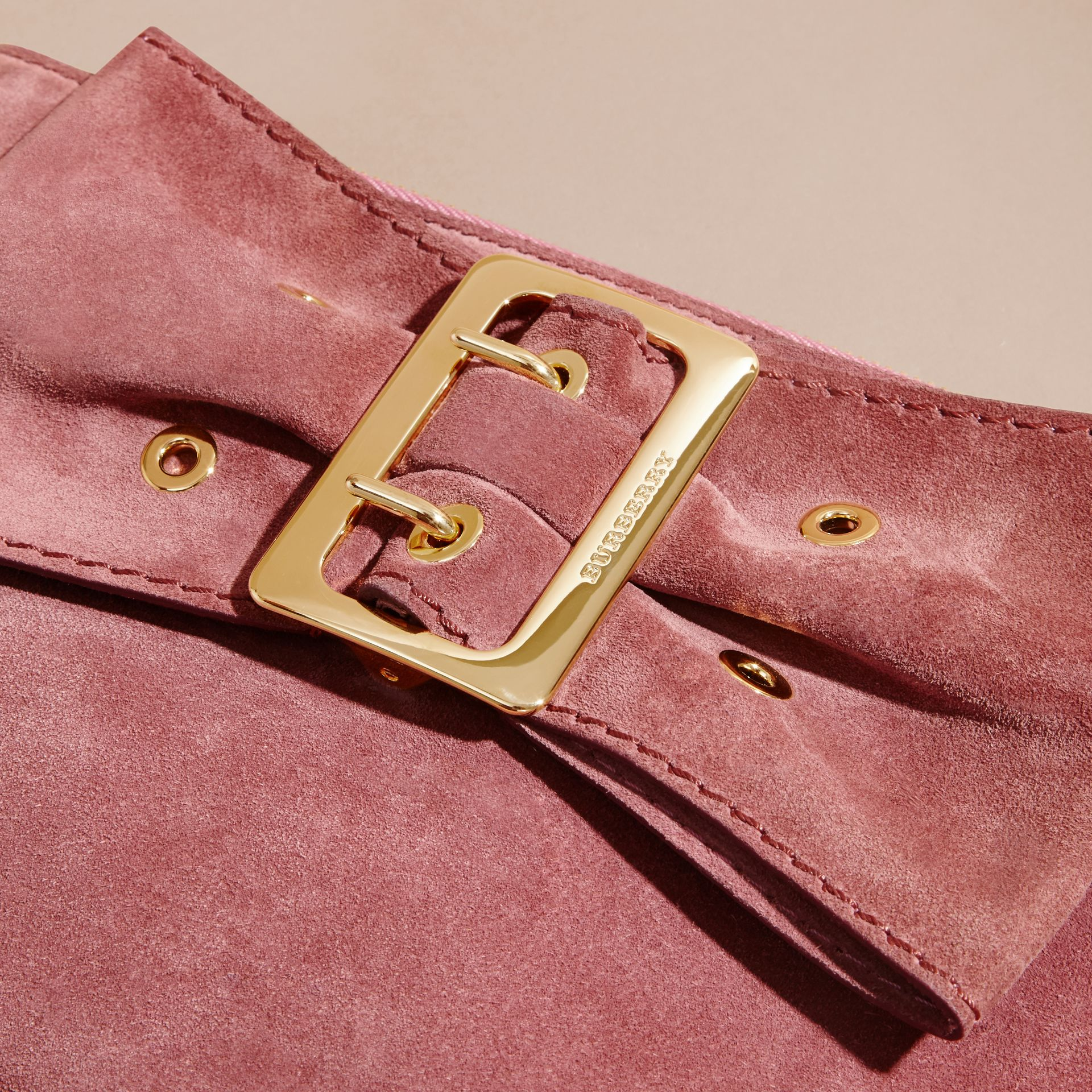 Suede Clutch Bag with Buckled Bow Detail Dusty Pink - gallery image 2