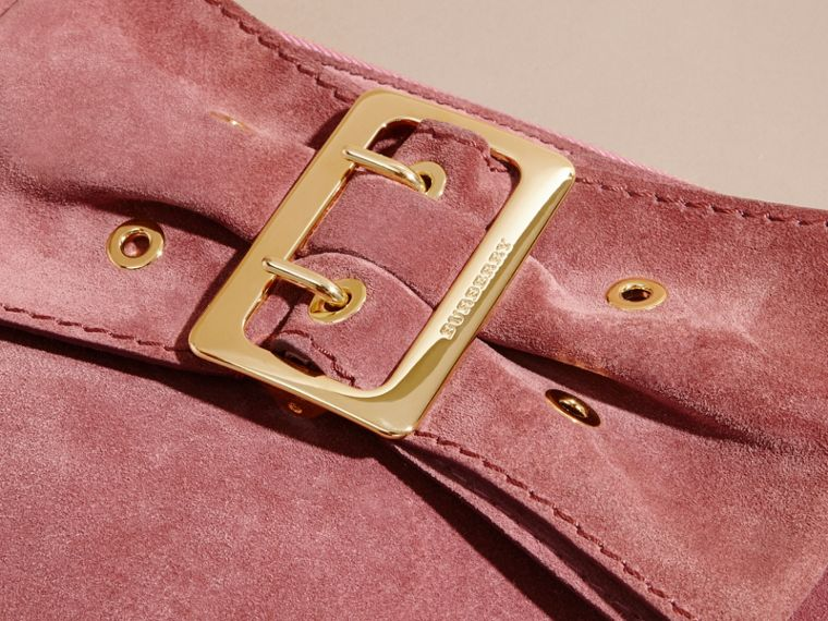 Suede Clutch Bag with Buckled Bow Detail Dusty Pink - cell image 1