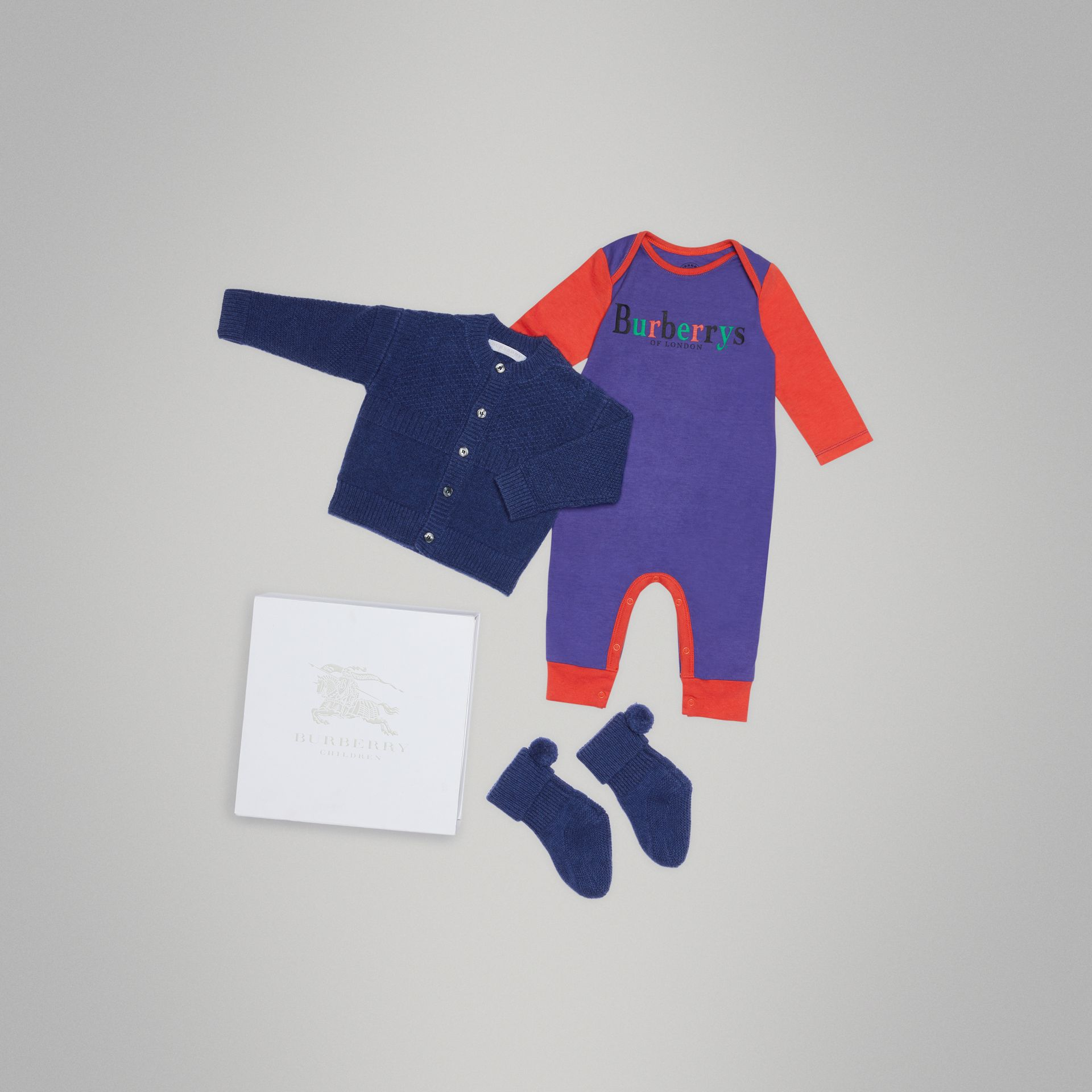 Cashmere and Cotton Three-piece Baby Gift Set in Bright Navy - Children | Burberry - gallery image 0