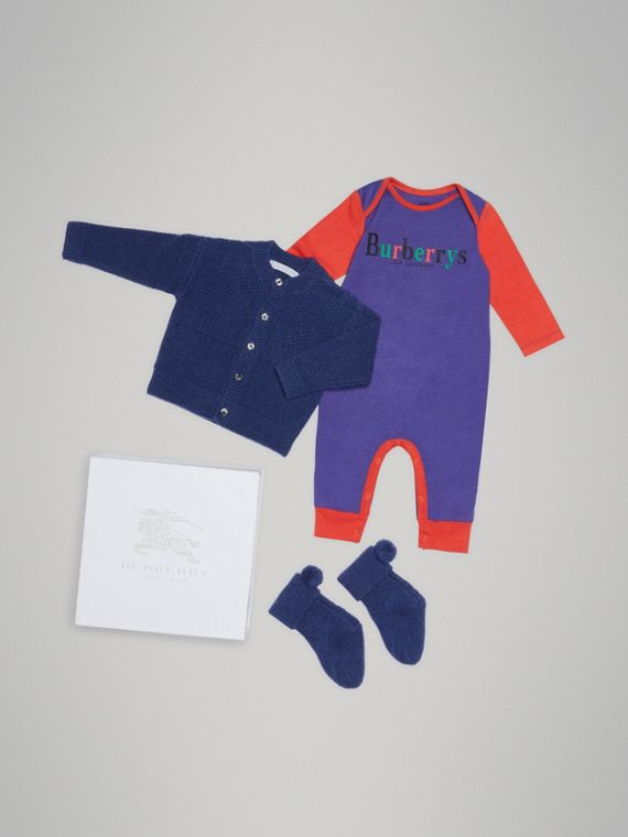 喀什米爾及棉質衣物三件組嬰兒禮盒 (亮海軍藍)