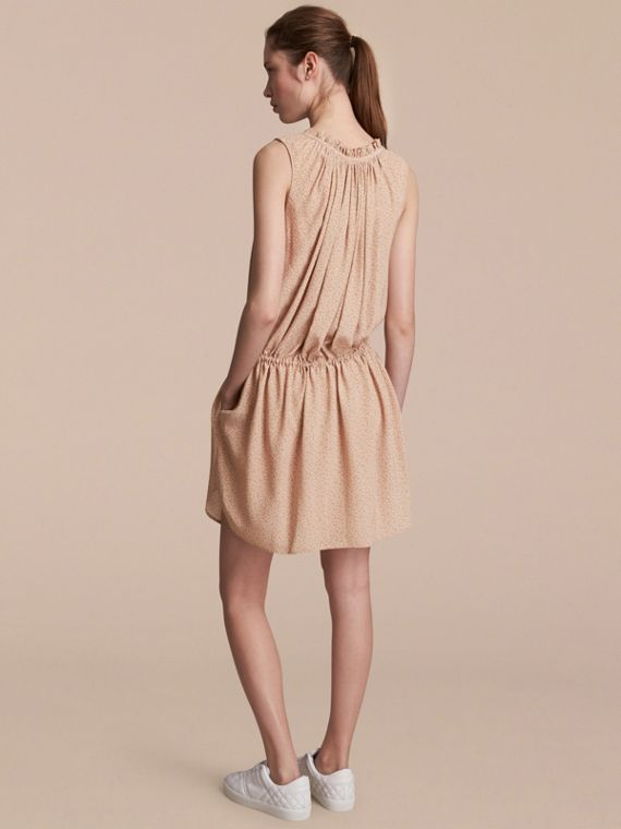 Floral Print Silk Gathered Dress in Light Copper - Women | Burberry - cell image 2