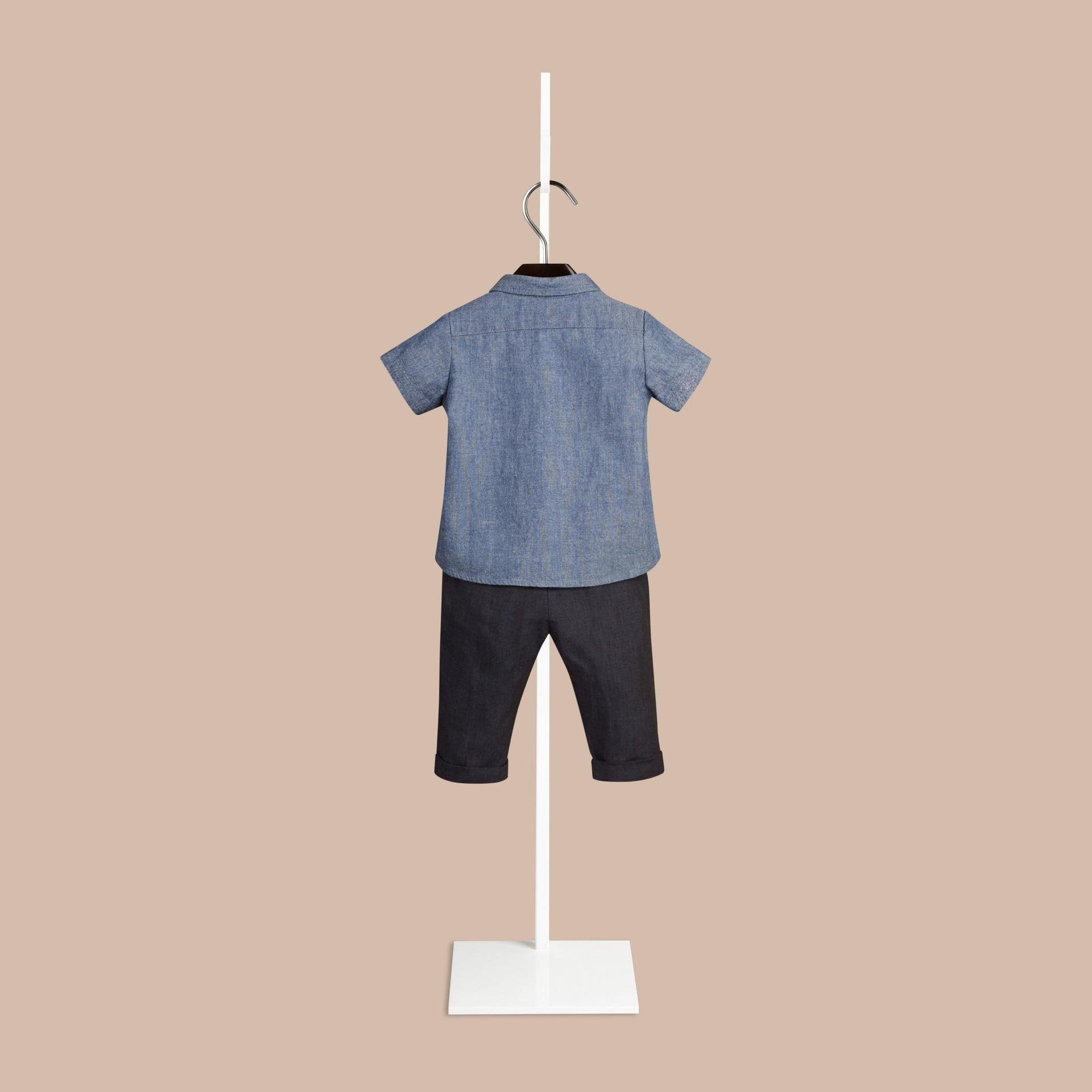 Blu pietra Camicia Oxford a maniche corte in cotone con dettaglio check - immagine della galleria 2