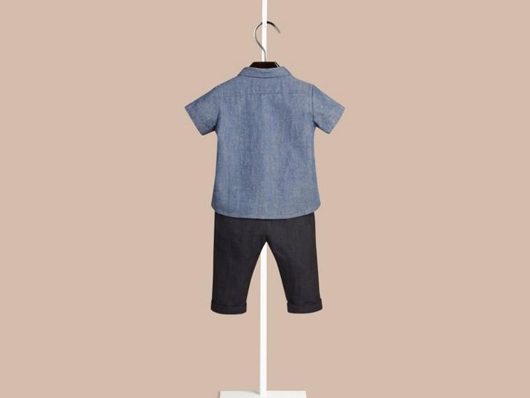 Blu pietra Camicia Oxford a maniche corte in cotone con dettaglio check - cell image 1