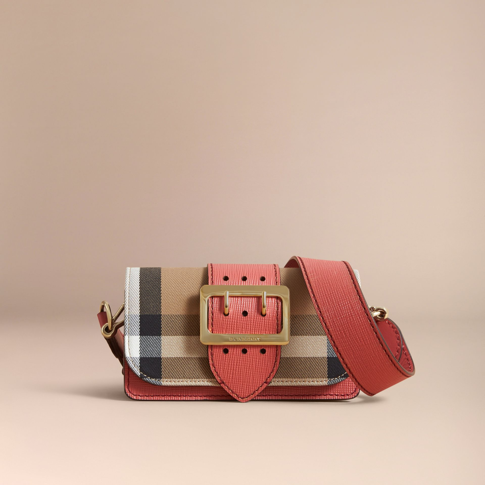 The Small Buckle Bag in House Check and Leather in Cinnamon Red - Women | Burberry Singapore - gallery image 7