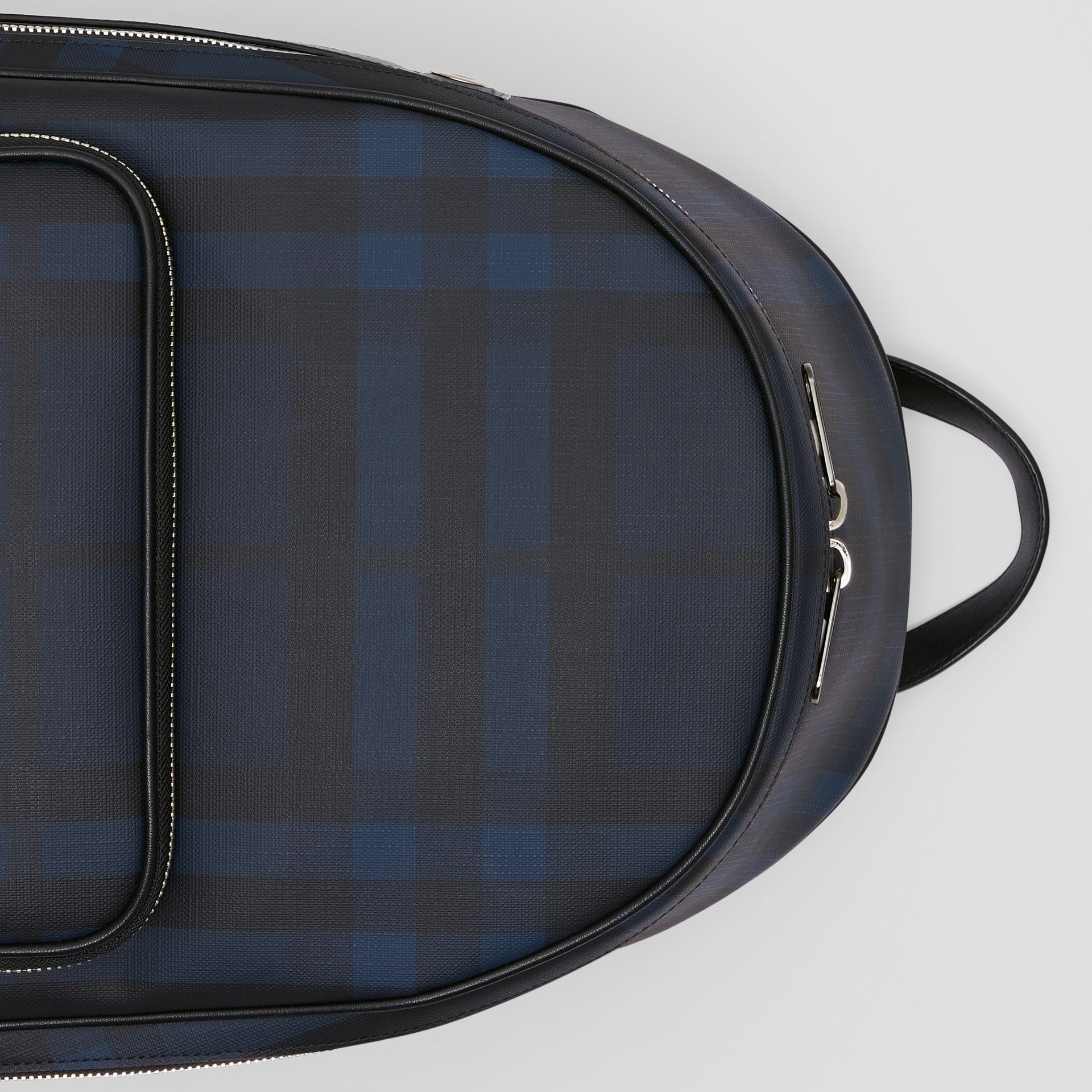 London Check and Leather Backpack in Navy | Burberry - gallery image 1