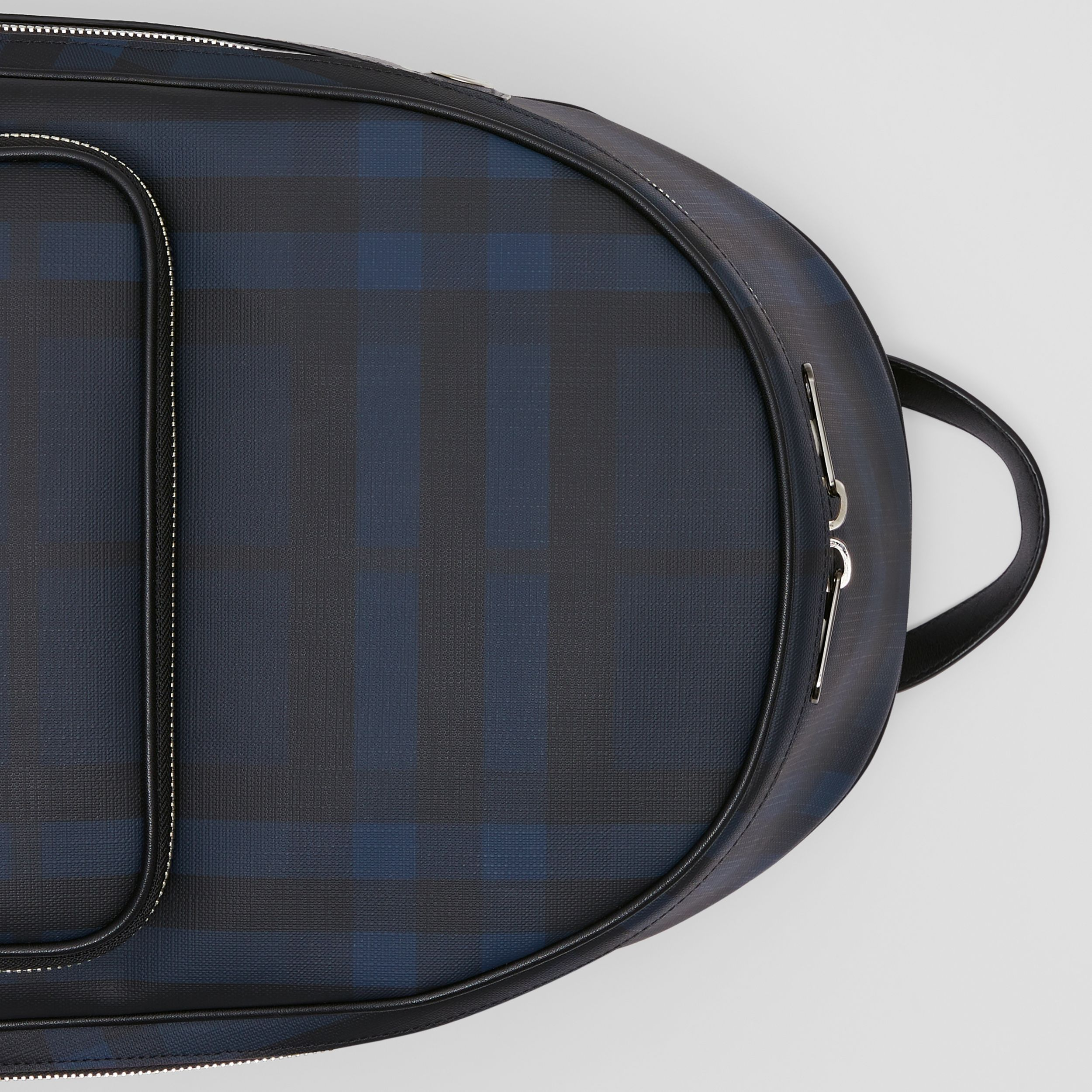 London Check and Leather Backpack in Navy | Burberry - 2
