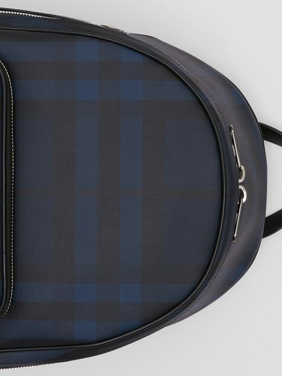 London Check and Leather Backpack in Navy | Burberry United Kingdom - cell image 1