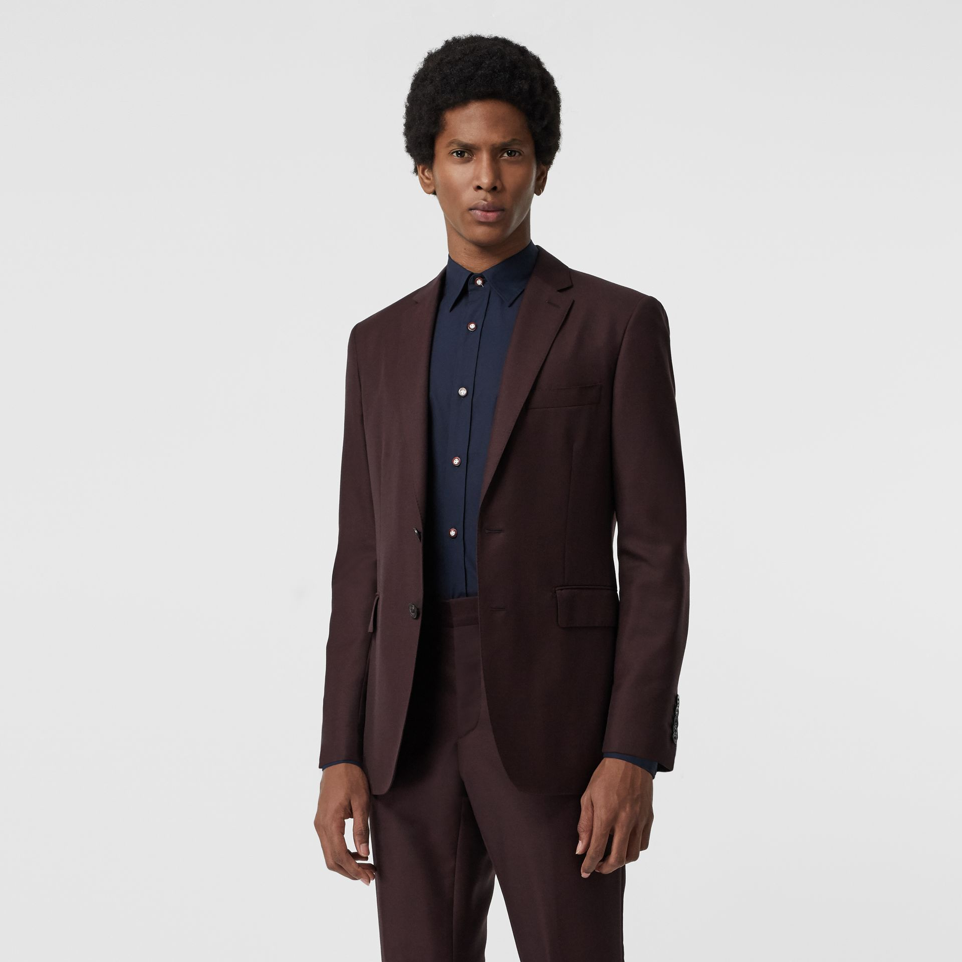 Slim Fit Wool Mohair Silk Suit in Burgundy - Men | Burberry - gallery image 7
