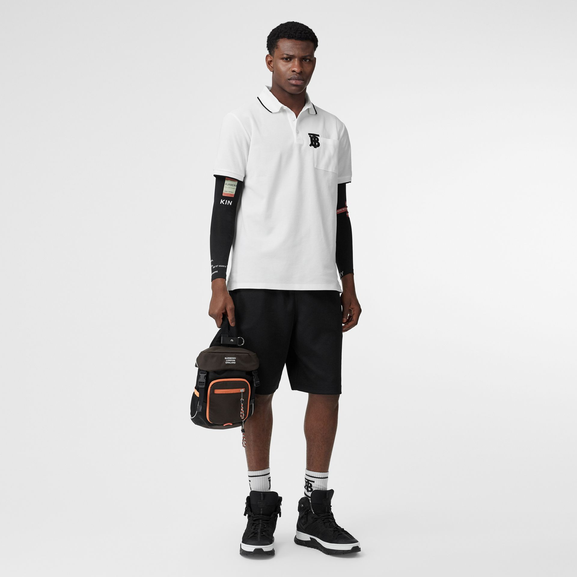 Monogram Motif Tipped Cotton Piqué Polo Shirt in White - Men | Burberry - gallery image 0