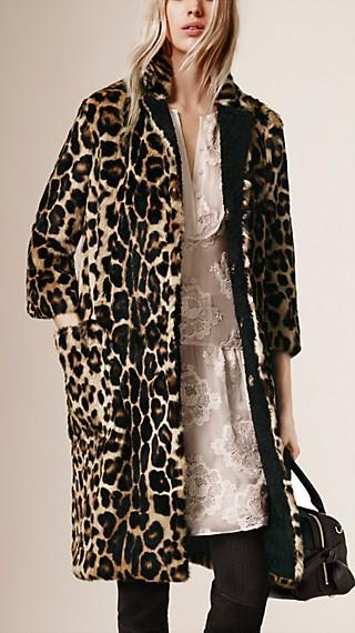 Animal Print Rabbit Fur and Shearling Coat